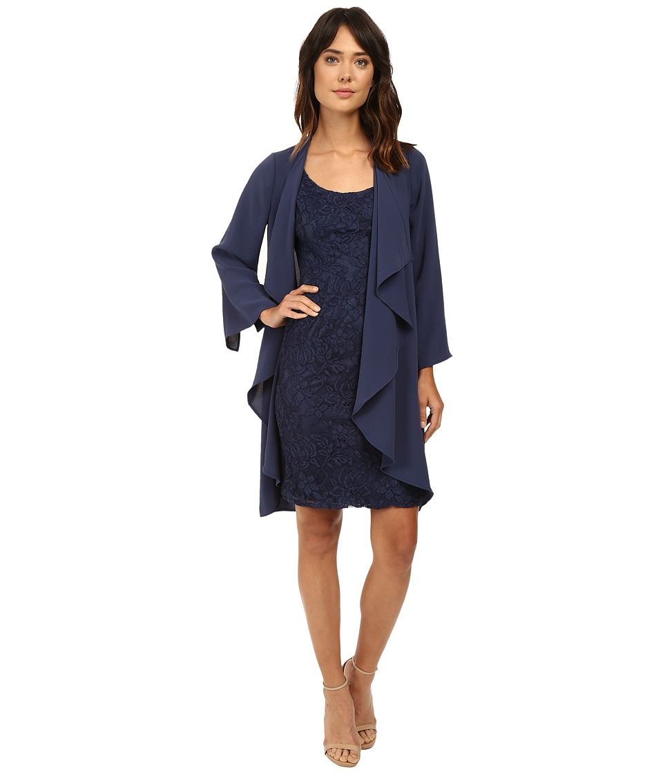 Adrianna Papell - Draped Jacket w/ Scoop Lace Dress (Dusky Navy) Women's Dress