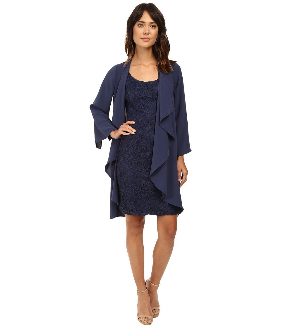 Adrianna Papell Draped Jacket w/ Scoop Lace Dress (Dusky Navy) Women