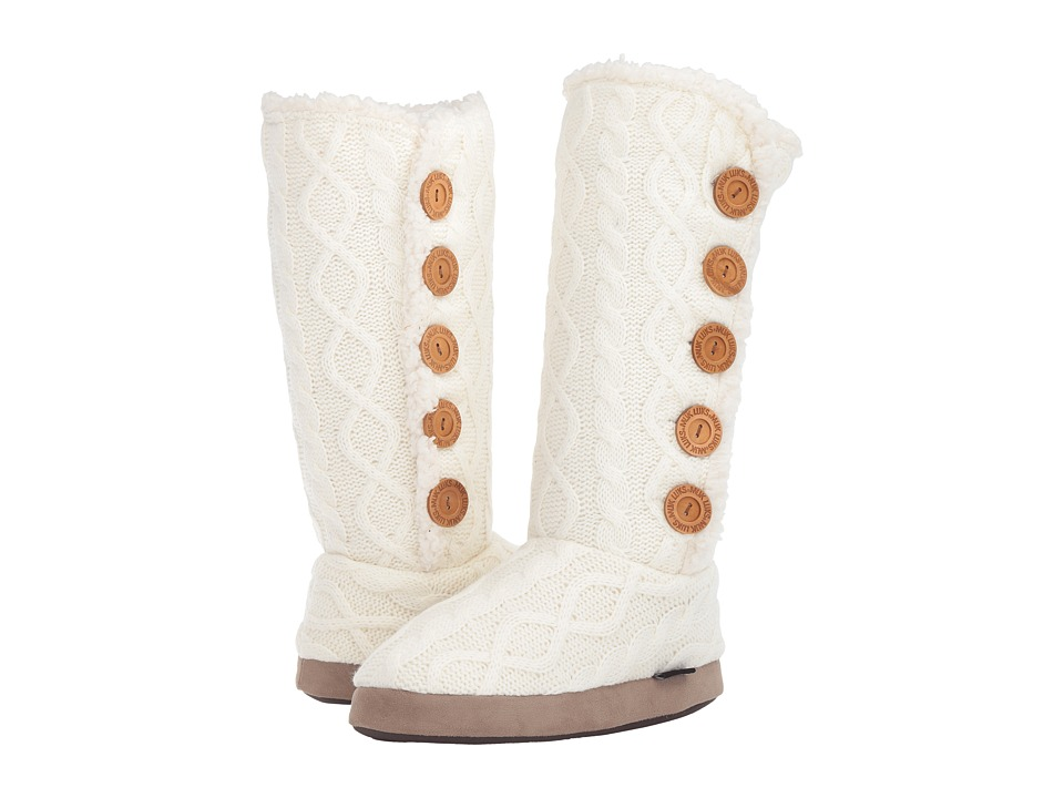 MUK LUKS - Malena Slipper Boot (Ivory) Women's Slippers