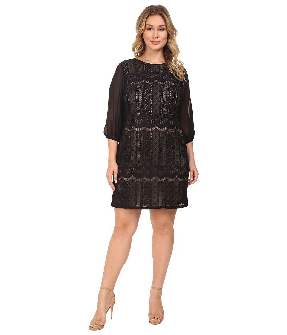 Adrianna Papell - Plus Size Striped Lace Shift Dress w/ Sleeve (Black/Pale Pink) Women's Dress