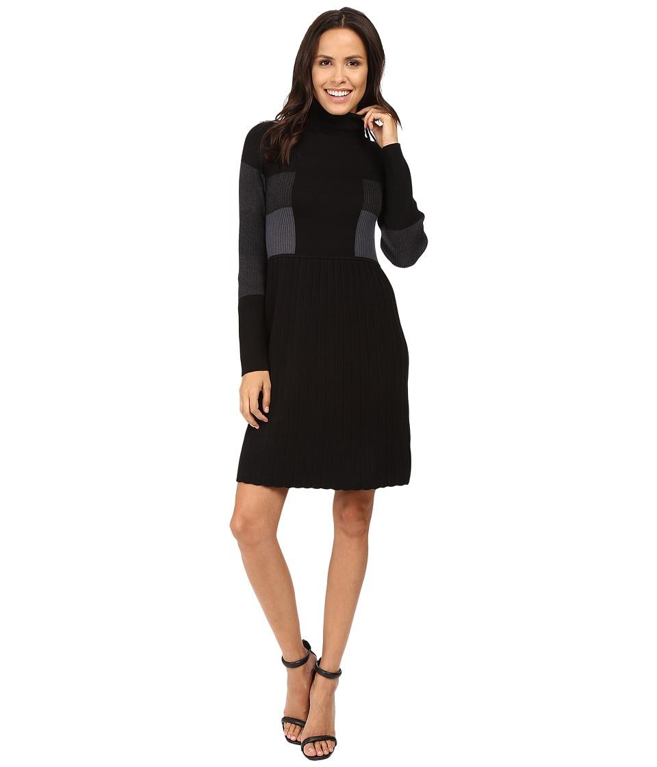Adrianna Papell - Turtleneck Long Sleeve Color Block Pleat Dress (Black Multi) Women's Dress