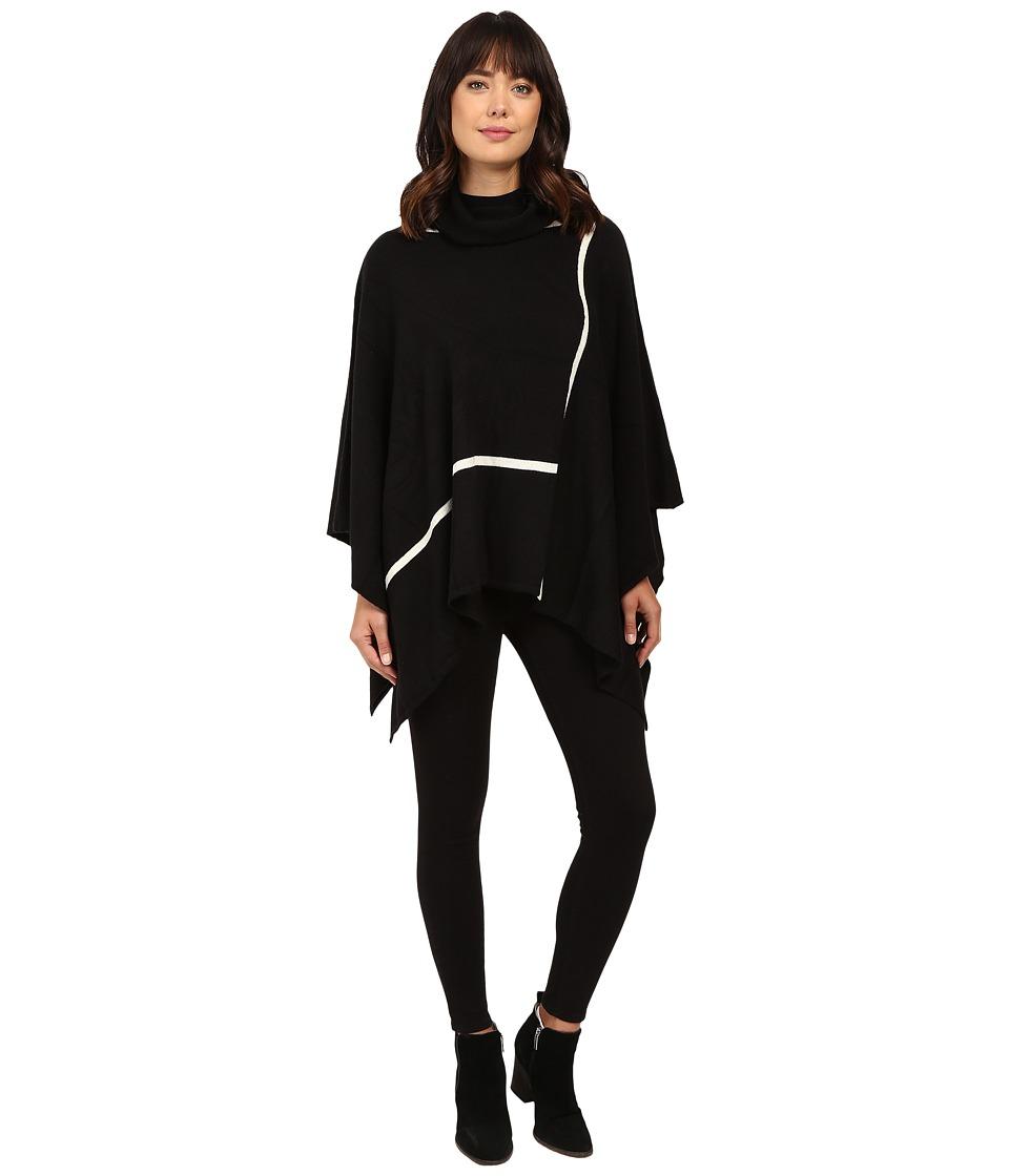 Christin Michaels - Gweneth Poncho with Stripes (Black/White) Women's Clothing
