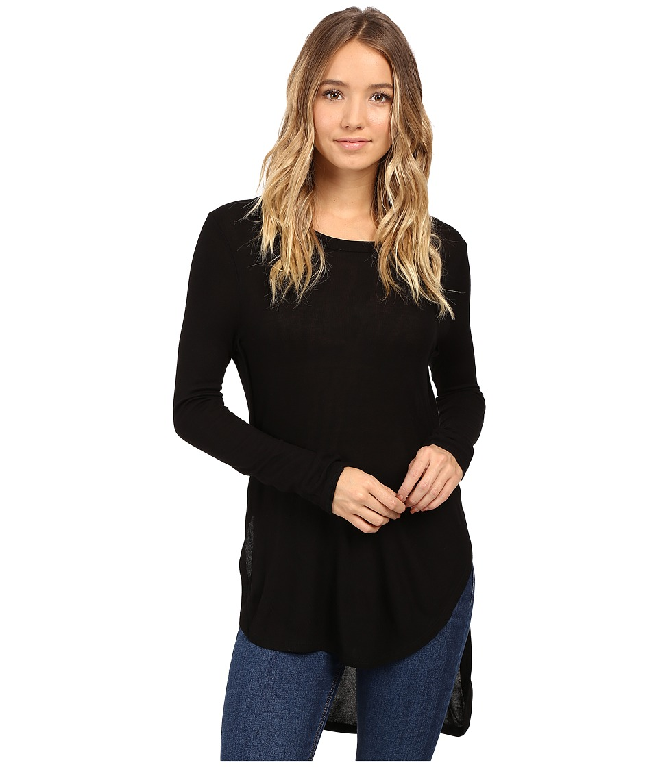 Culture Phit - Leda Long Sleeve Top with Side Slits (Black) Women's Clothing