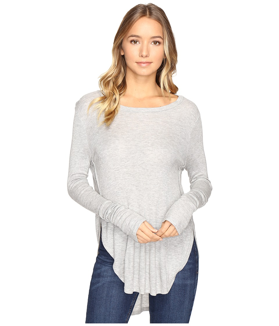 Culture Phit - Leda Long Sleeve Top with Side Slits (Heather Grey) Women's Clothing