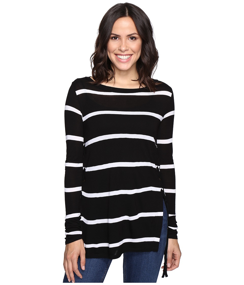 Brigitte Bailey - Adelle Long Sleeve Top with Lace-Up Sides (Black/White) Women's Clothing