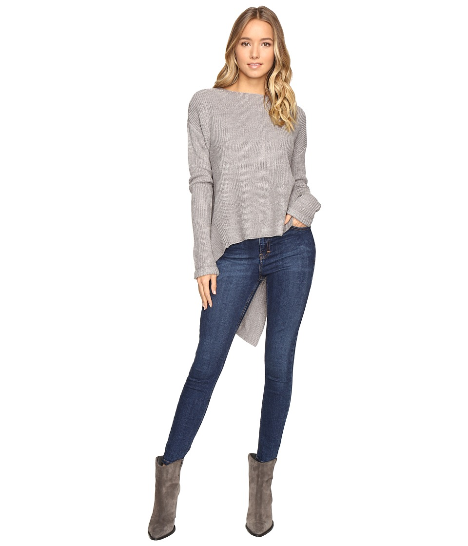 Brigitte Bailey - Siana Long Sleeve Sweater with Diagonal Hem (Grey) Women's Sweater