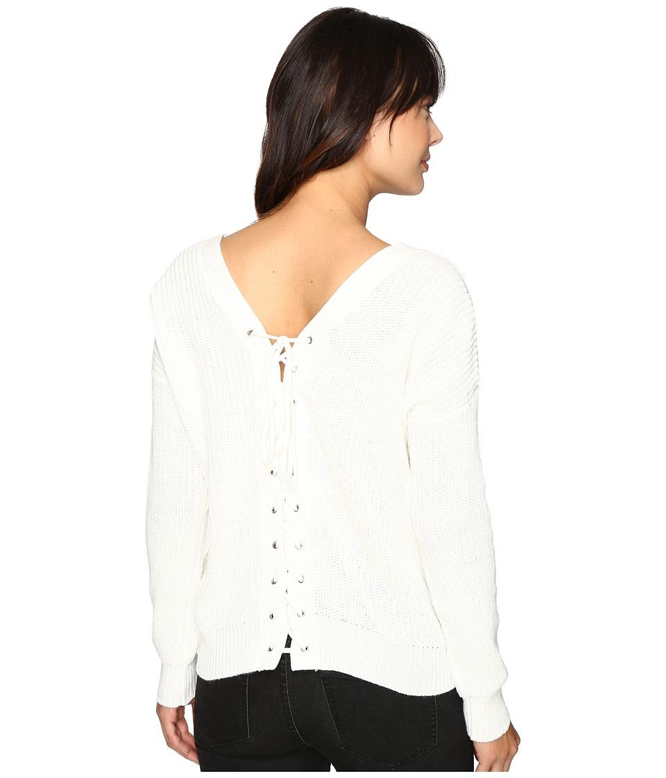 Brigitte Bailey - Francesca Lace-Up Long Sleeve Sweater (White) Women's Sweater