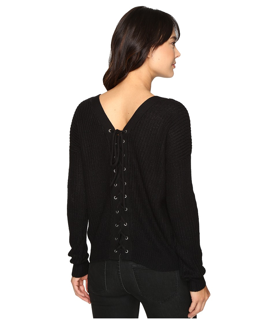 Brigitte Bailey - Francesca Lace-Up Long Sleeve Sweater (Black) Women's Sweater