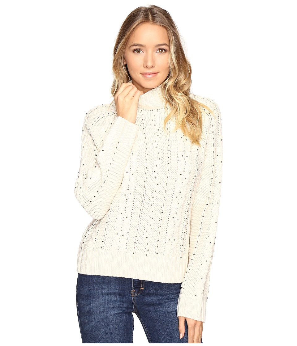 Brigitte Bailey - Adara Cable Knit Sweater with Bead Detail (White Beach) Women's Sweater