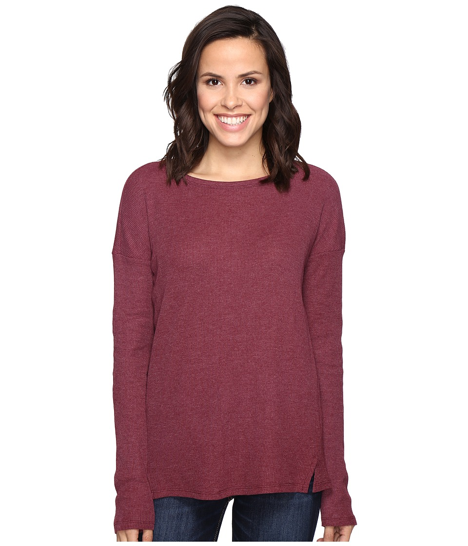 Brigitte Bailey - Keely Long Sleeve Top with Front Slits (Deep Wine) Women's Clothing