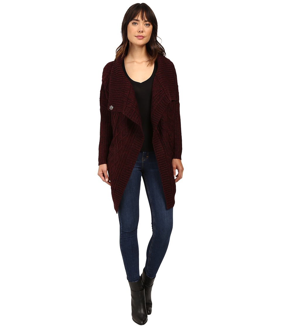 Brigitte Bailey - Chiara Long Sleeve Cardigan (Burgundy) Women's Sweater
