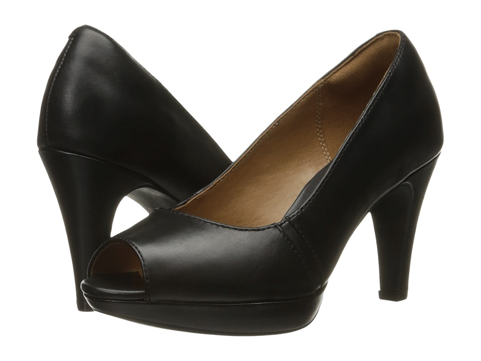 Clarks - Narine Row (Black Leather) Women's Shoes