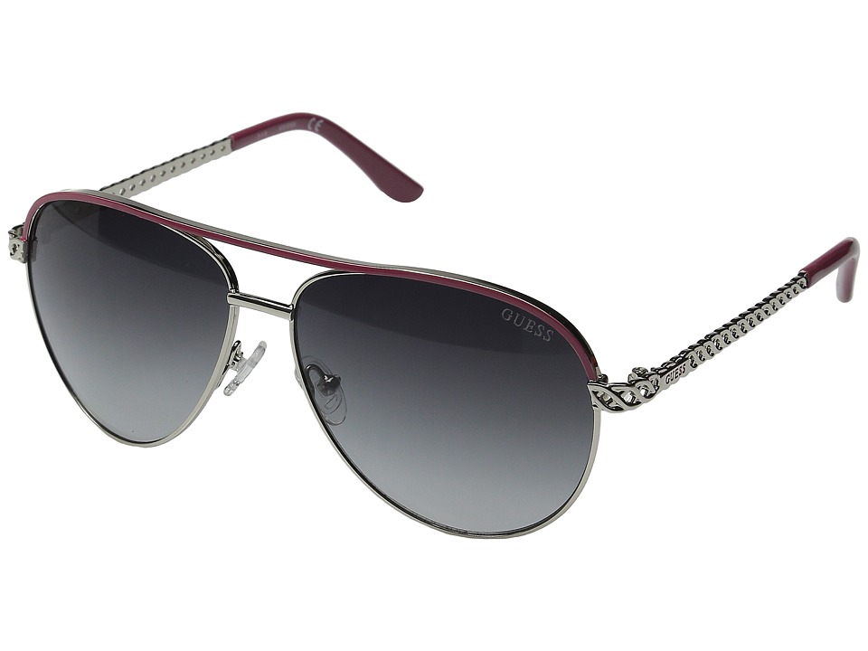 GUESS - GF0268-10B (Shiny Silver/Smoke Mirror Lens) Fashion Sunglasses