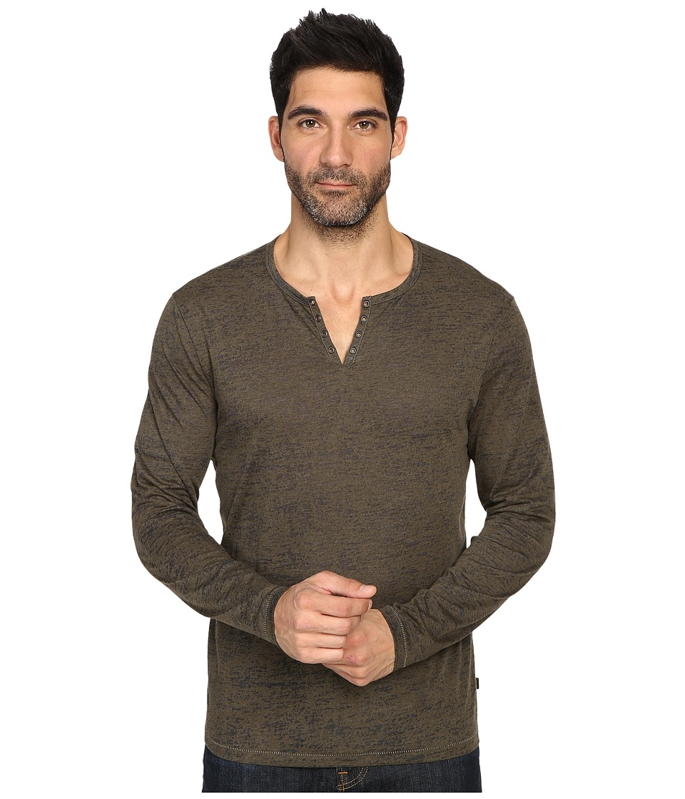 John Varvatos Star U.S.A. - Long Sleeve Eyelet Knit Henley w/ Vertical Pickstitch Details K2077S3B (Olive Heather) Men's Clothing