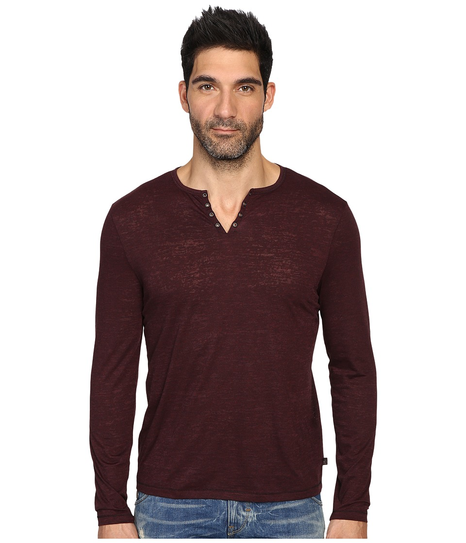 John Varvatos Star U.S.A. - Long Sleeve Eyelet Knit Henley w/ Vertical Pickstitch Details K2077S3B (Oxblood) Men's Clothing