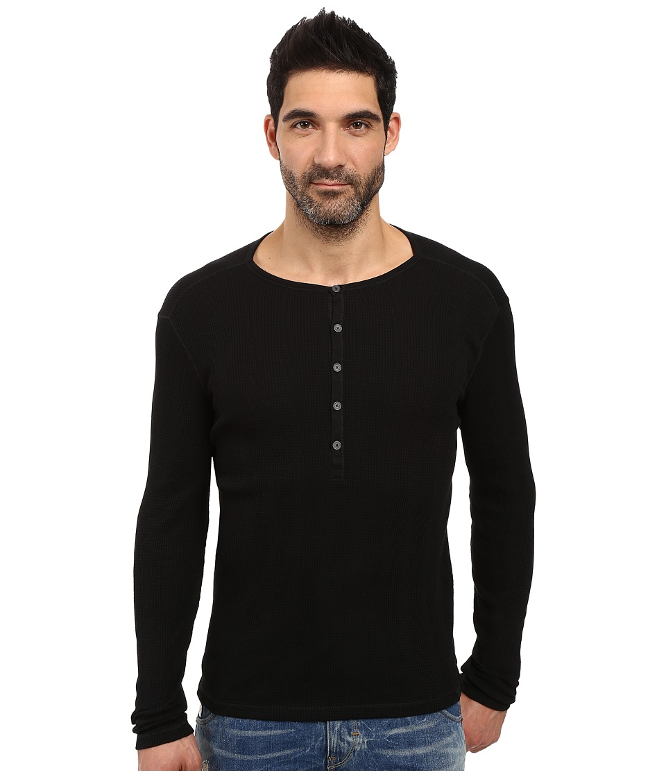 John Varvatos Star U.S.A. - Long Sleeve Button-Front Henley K2319S3B (Black) Men's Clothing