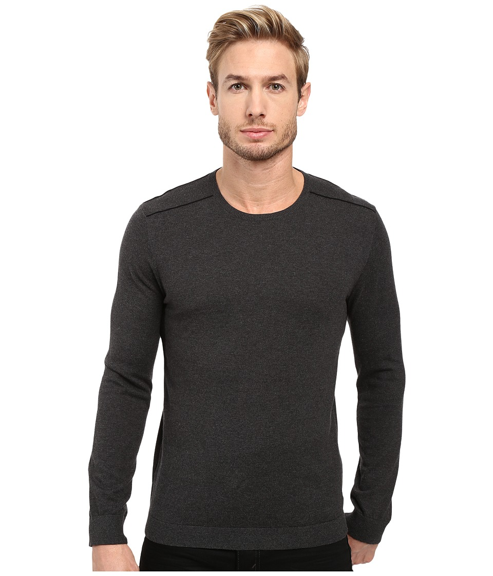 John Varvatos Star U.S.A. - Long Sleeve Crew Neck Sweater w/ Contrast Piping Y1329S3B (Charcoal Heather) Men's Sweater