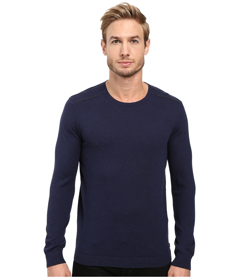 John Varvatos Star U.S.A. - Long Sleeve Crew Neck Sweater w/ Contrast Piping Y1329S3B (Deep Blue) Men's Sweater