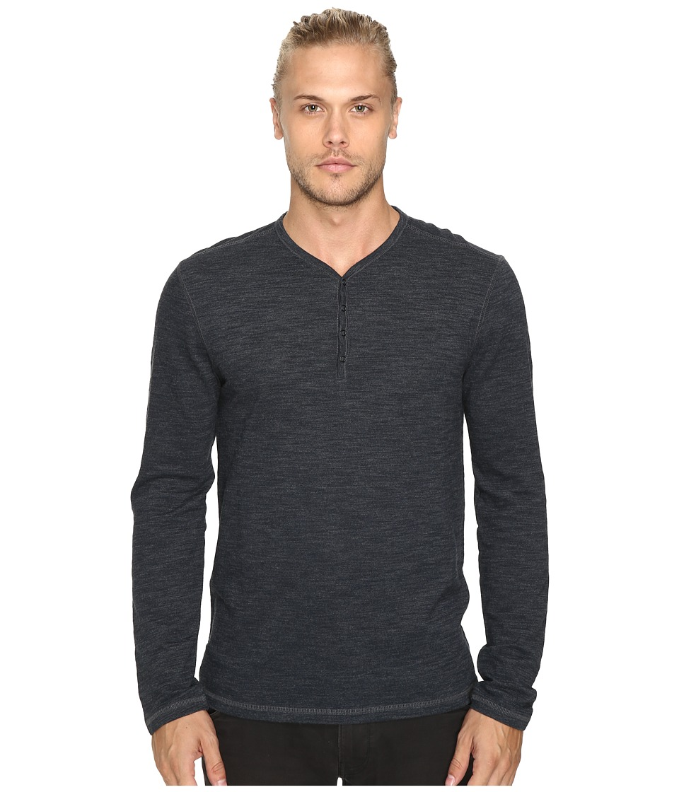 John Varvatos Star U.S.A. - Long Sleeve Snap Front Henley w/ Flatlock Seam Details K1711S3B (Eclipse) Men's Clothing