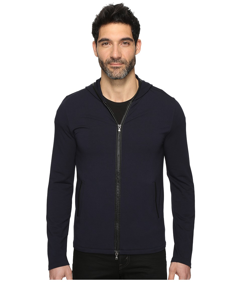 John Varvatos Star U.S.A. - Long Sleeve Zip-Front Knit Hoodie w/ Leather Trim Details and Elbow Patches K2847S3L (Marine) Men's Sweatshirt