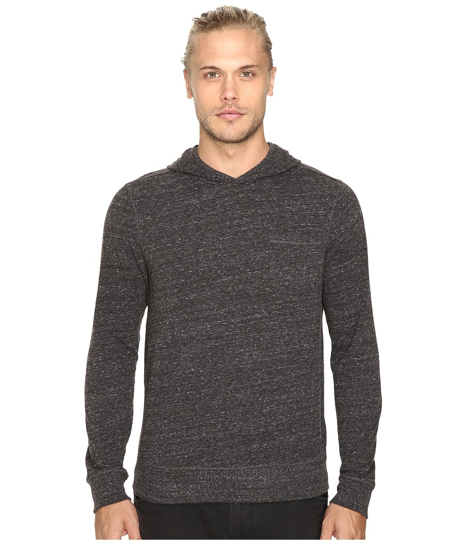 John Varvatos Star U.S.A. - Long Sleeve Pullover Knit Hoodie w/ Chest Pocket and Flatlocked Seam Details K2761S3B (Coal) Men's Sweatshirt