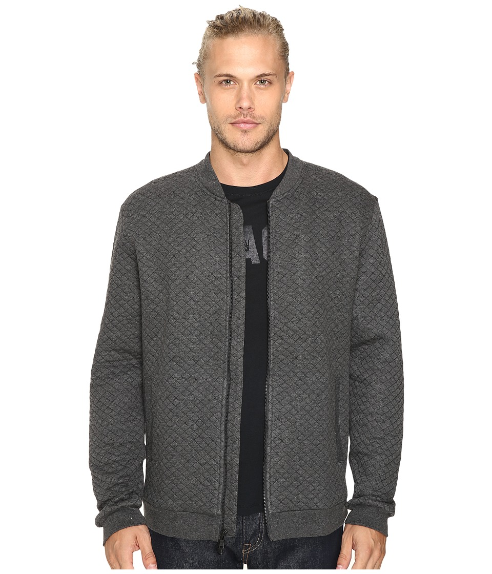 John Varvatos Star U.S.A. - Quilted Long Sleeve Zip-Front Knit Jacket w/ Baseball Collar and Rib Details K2801S3L (Charcoal Heather) Men's Coat