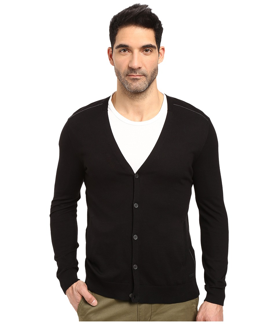 John Varvatos Star U.S.A. - Long Sleeve Cardigan Sweater w/ Contrast Piping Y1327S3B (Black) Men's Sweater