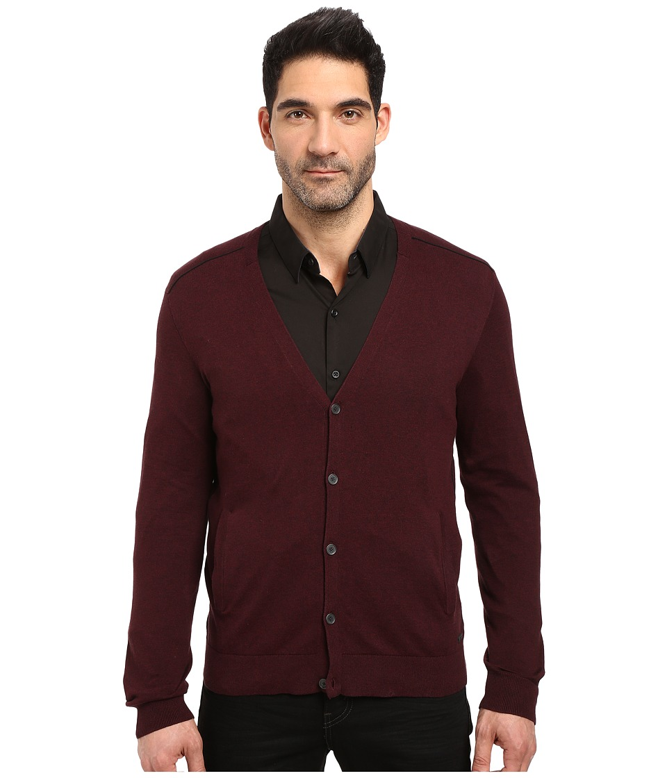 John Varvatos Star U.S.A. - Long Sleeve Cardigan Sweater w/ Contrast Piping Y1327S3B (Port) Men's Sweater