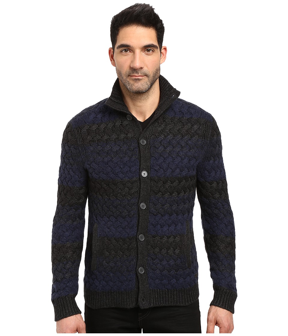 John Varvatos Star U.S.A. - Long Sleeve Button Through Sweater Jacket in Basket Weave Multiple Stripe Y1369S3B (Indigo Heather) Men's Coat