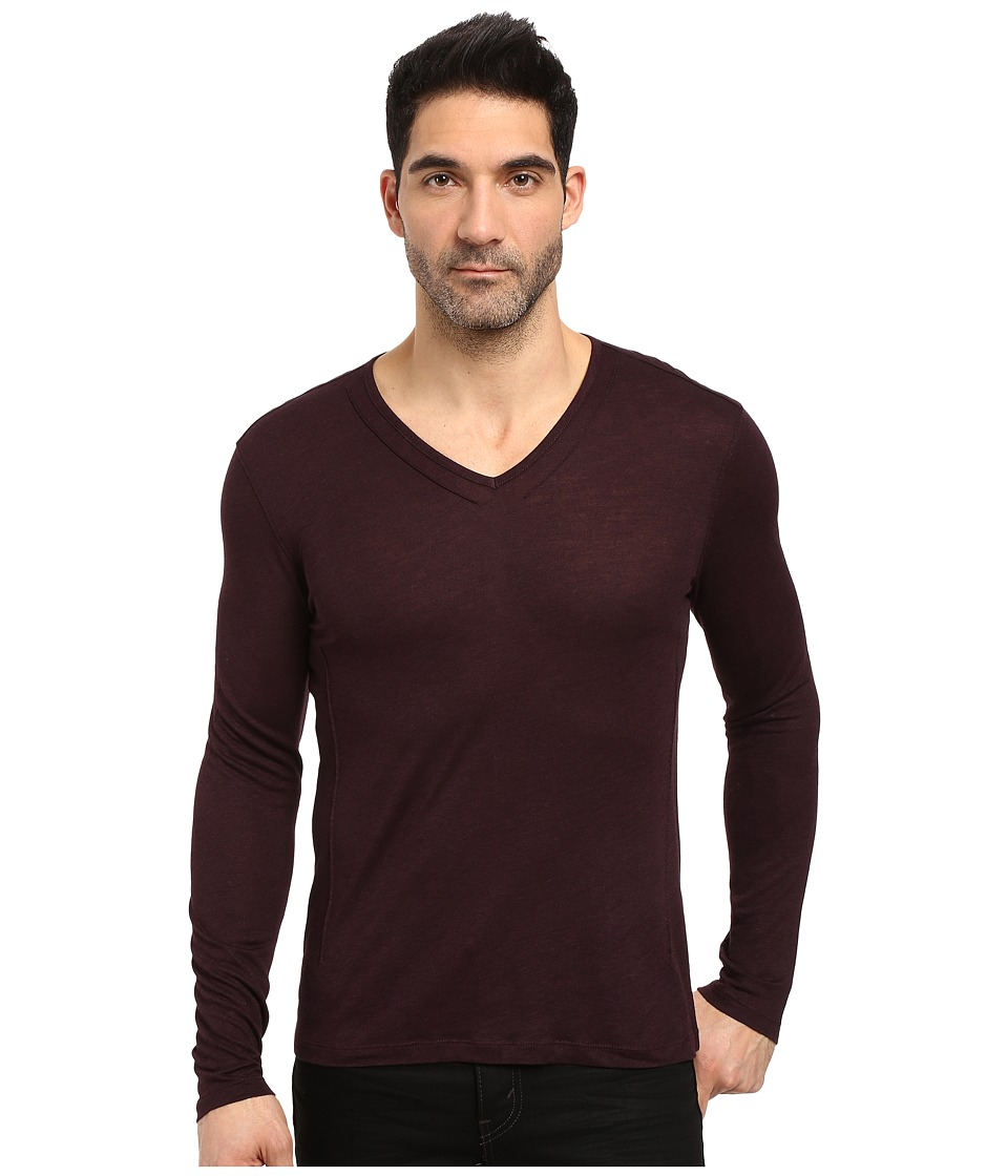 John Varvatos Star U.S.A. - Long Sleeve Knit V-Neck w/ Pintuck Details K2807S3L (Port) Men's Clothing
