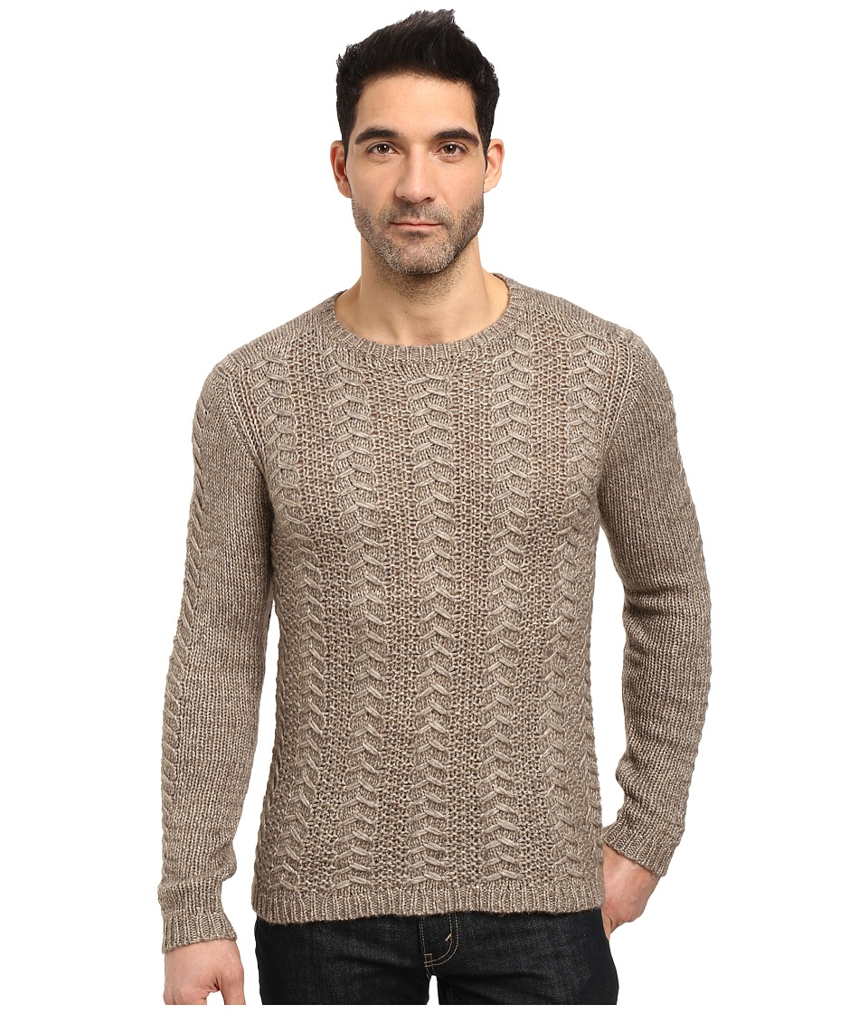 John Varvatos Star U.S.A. - Long Sleeve Crew Neck Sweater w/ Weave Rib Stitch Y1407S3L (Balsa Heather) Men's Clothing
