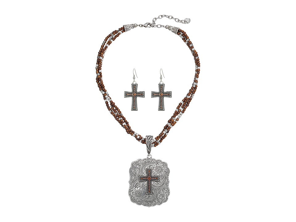 M&F Western - Multi Chain Cross Pendant Necklace/Earrings Set (Silver) Jewelry Sets