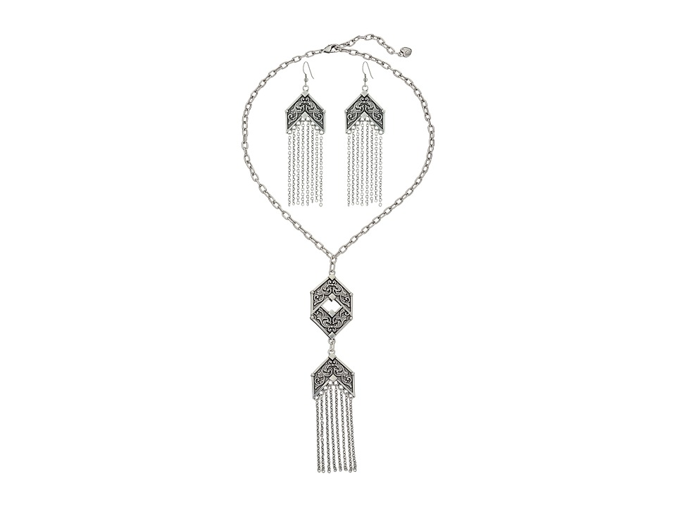 M&F Western - Fringe Necklace/Earrings Set (Silver) Jewelry Sets