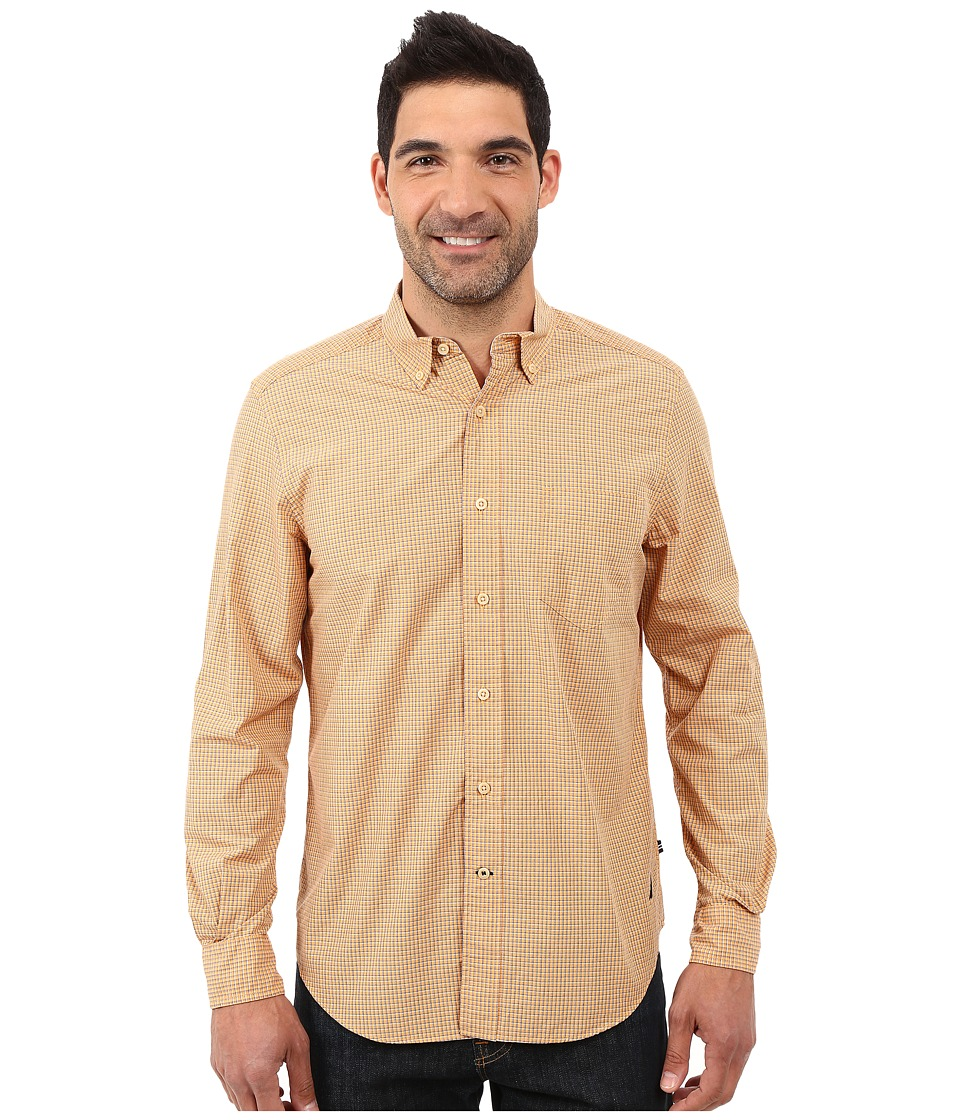 Nautica - Long Sleeve Mini Plaid Shirt w/ Pocket (Orange Sherbert) Men's Long Sleeve Button Up