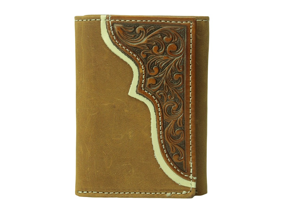 M&F Western - Tooled Trifold Wallet (Brown) Wallet Handbags
