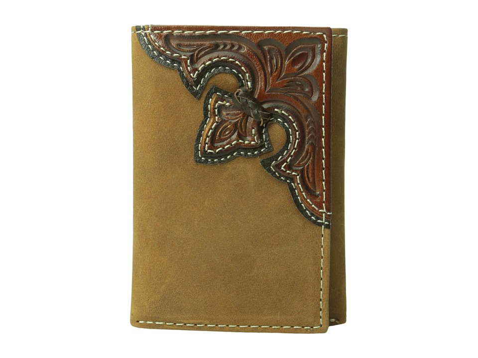M&F Western - Embossed Corner Trifold Wallet (Brown) Wallet Handbags