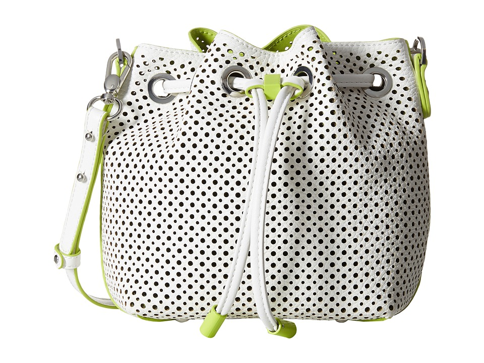 Steve Madden - Bjckpot Mini Perf Bucket (White) Cross Body Handbags