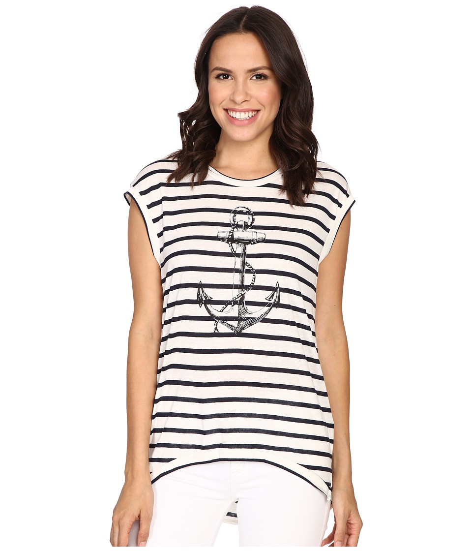 The Beginning Of - Fiona High-Low Tee w/ Anchor (White/Indigo) Women's T Shirt