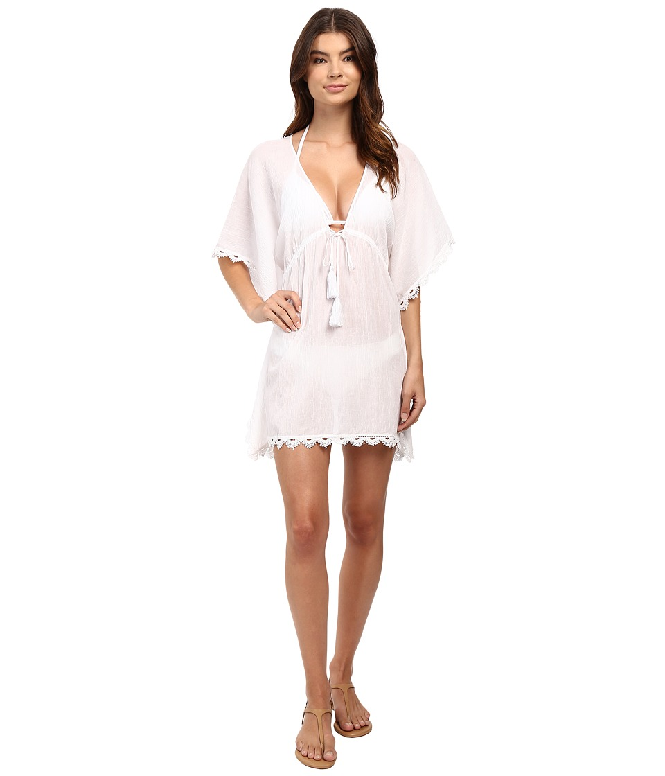 Seafolly Crochet Trim Kaftan Cover-Up (White) Women