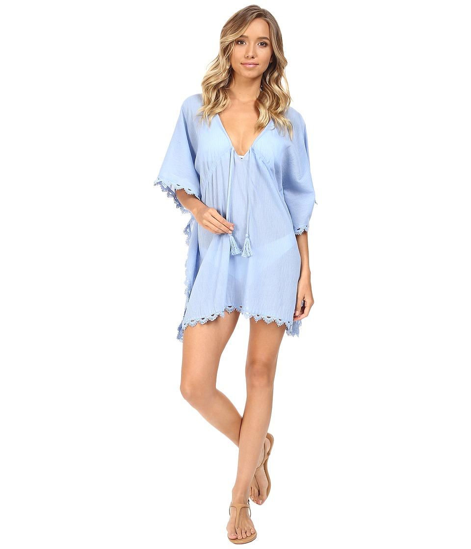 Seafolly - Crochet Trim Kaftan Cover-Up (Mid Blue) Women's Swimwear