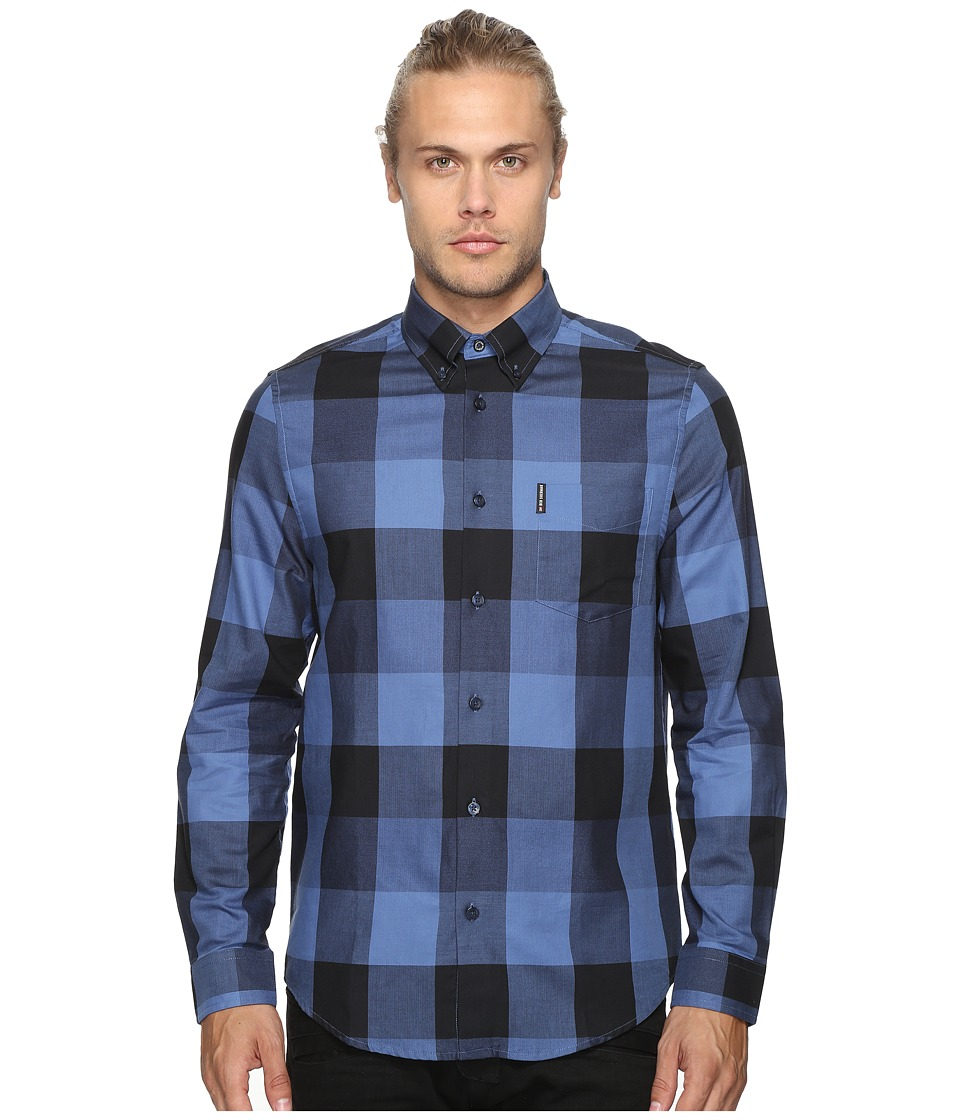 Ben Sherman - Long Sleeve Textured Oversized Gingham Woven Shirt (Washed Blue) Men's Long Sleeve Button Up