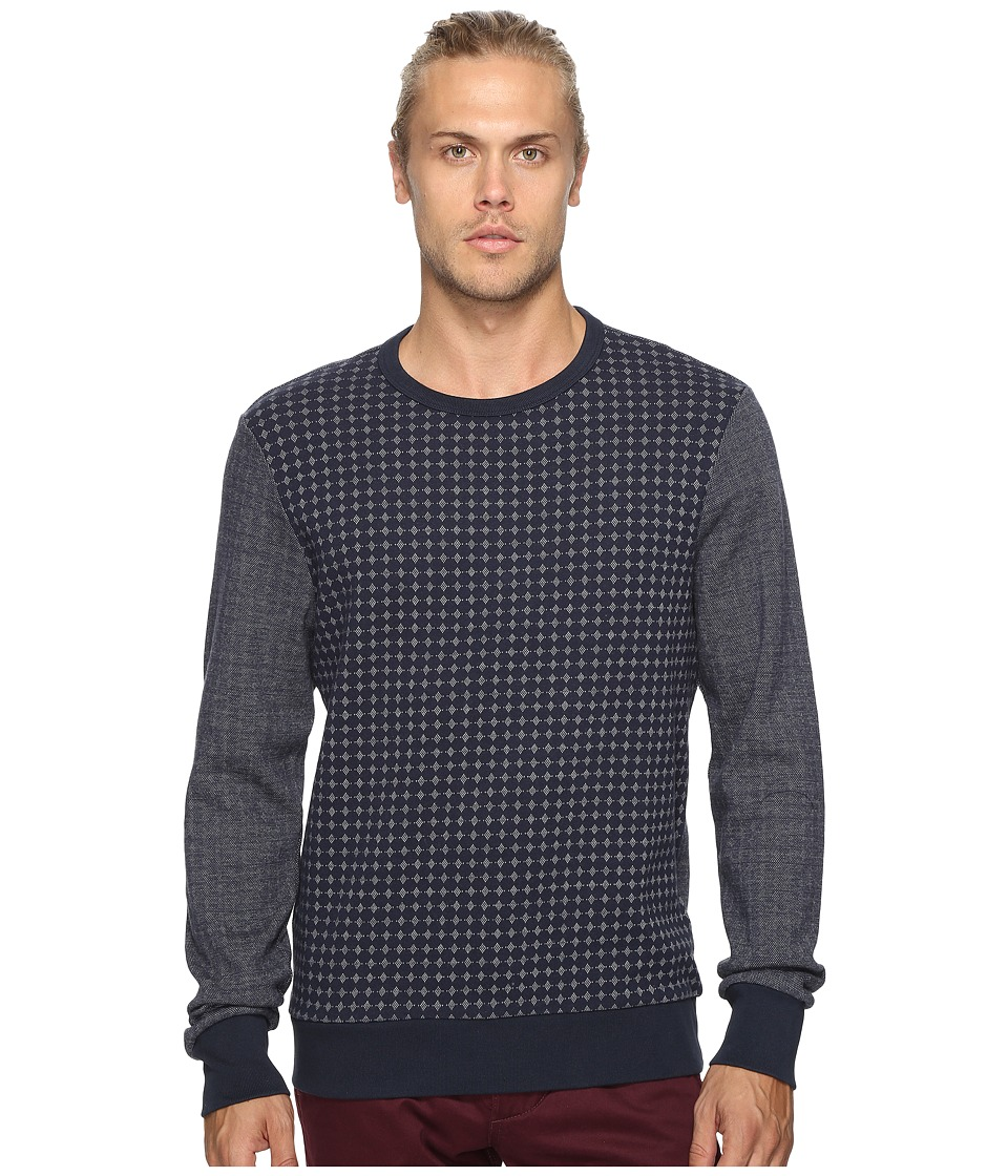 Ben Sherman - Long Sleeve Semi Plain Crew Sweat Top (Navy Blazer) Men's Long Sleeve Button Up