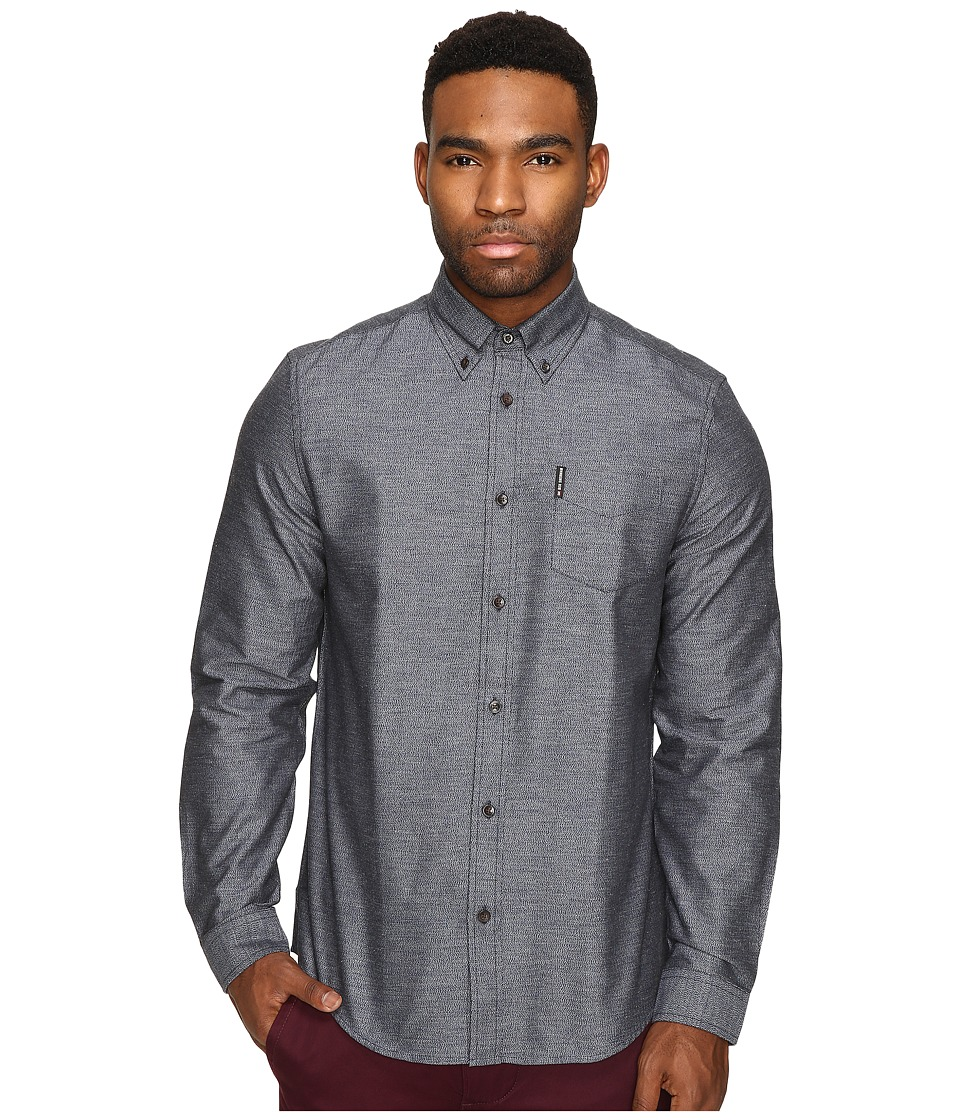 Ben Sherman - Long Sleeve Herringbone Donegal Woven Shirt (Navy Blazer) Men's Long Sleeve Button Up