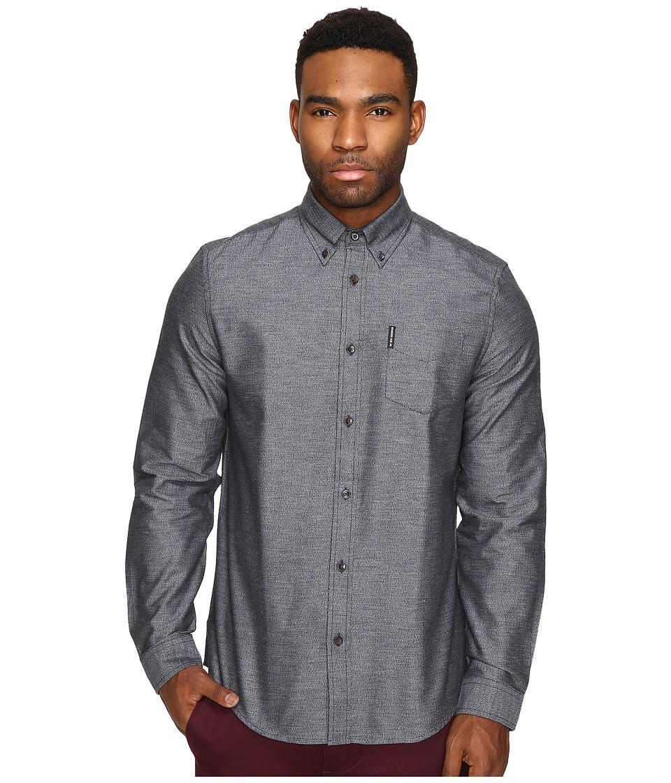 Ben Sherman - Long Sleeve Herringbone Donegal Woven Shirt (Navy Blazer) Men's Long Sleeve Button Up