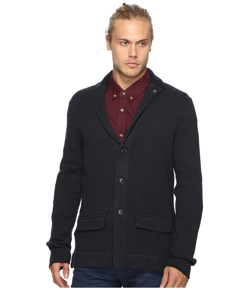 Ben Sherman - Long Sleeve Herringbone Soft Blazer Shirt (Blue Black) Men's Long Sleeve Button Up