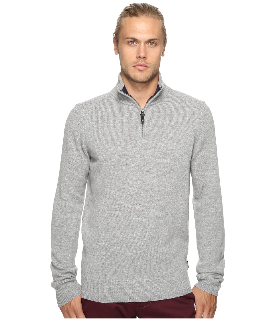 Ben Sherman - Long Sleeve Lambswool Half Zip Knit (Silver Chali Marl) Men's Long Sleeve Button Up