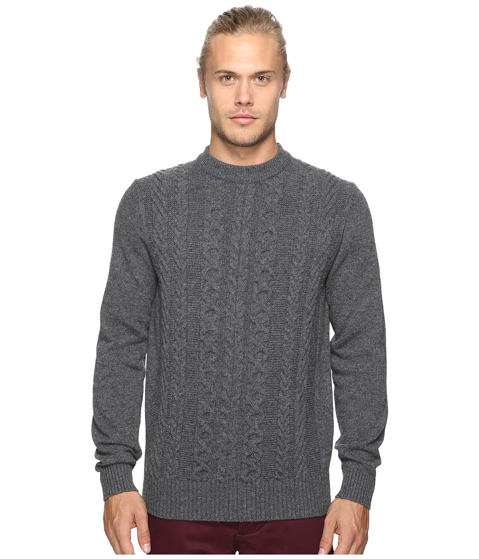 Ben Sherman - Long Sleeve Cable Front Crew Neck Sweater (Concrete Marl) Men's Sweater