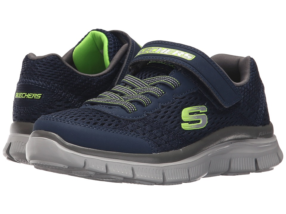 SKECHERS KIDS - Flex Advantage - Master Blast (Little Kid) (Navy/Charcoal/Lime) Boy's Shoes