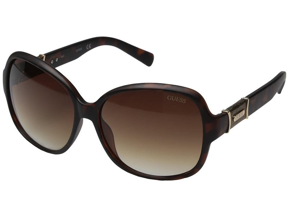 GUESS - GU0237F (Matte Dark Tortoise/Brown Gradient Lens) Fashion Sunglasses