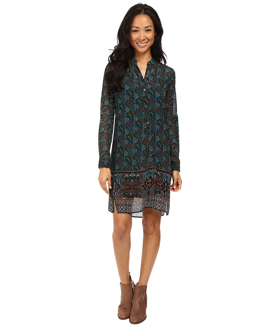 KUT from the Kloth - Long Sleeve Shirtdress (Teal) Women's Dress